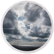 Sunlight Breaks Through The Clouds Round Beach Towel
