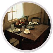Sunlight On Dining Table Round Beach Towel