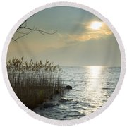 Sunlight On The Lake With Pampas Grass Round Beach Towel