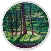 Sunlight Peeping Through. Round Beach Towel