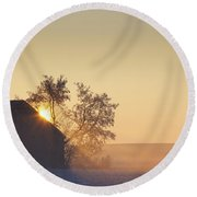 Sunlight Shining Behind A House In A Round Beach Towel