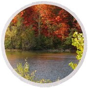 Sunlit Autumn Round Beach Towel