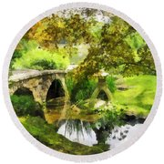 Sunlit Bridge In Park Round Beach Towel