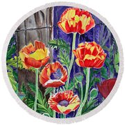 Sunlit Poppies Round Beach Towel