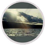 Sunlit Rays Before Sunset Round Beach Towel