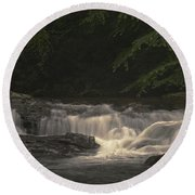 Early Morning Sunlit Waterfall Round Beach Towel