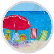 Sunny Afternoon At The Beach Round Beach Towel
