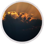 Sunny Clouds Round Beach Towel