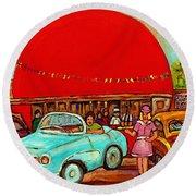 Sunny Day At The Big Orange Julep  Montreal Road Side Diner Carole Spandau Round Beach Towel