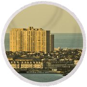 Sunny Day In Atlantic City Round Beach Towel by Trish Tritz