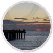 Sunny Isles Fishing Pier Sunrise Round Beach Towel