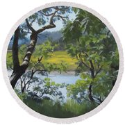 Sunny River Round Beach Towel