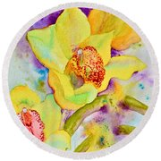 Sunny Splash Of Orchids Round Beach Towel