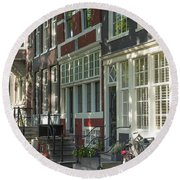 Sunny Street In Amsterdam Round Beach Towel