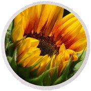 Sunny Sunflower Round Beach Towel