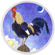 Sunny The Rooster Round Beach Towel