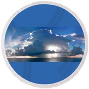 Sunny Waterfall Over The Bay Filtered Round Beach Towel
