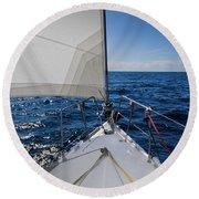 Sunny Yacht Bow Round Beach Towel