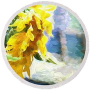 Sunnyabstracted Round Beach Towel