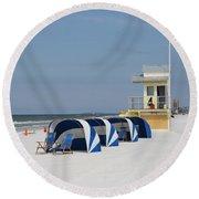 Sunnyday At Clearwater Beach Round Beach Towel