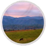 Sunrise And Deer In Cades Cove Round Beach Towel
