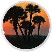 Sunrise And Group Of Palm Trees Round Beach Towel