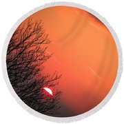 Sunrise And Hibernating Tree Round Beach Towel