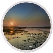 Sunrise And Water Lilies Round Beach Towel