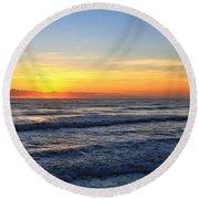 Sunrise And Waves Round Beach Towel