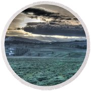 Sunrise At A Small Pond In Yellowstone Round Beach Towel
