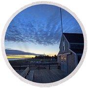 Sunrise At Barnstable Yacht Club Round Beach Towel