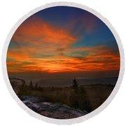 Sunrise At Bear Rocks In Dolly Sods Round Beach Towel by Dan Friend