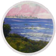 Sunrise At Burliegh Heads Round Beach Towel
