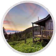 Sunrise At Mt Leconte Round Beach Towel