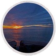Sunrise At Otter Cliffs Round Beach Towel