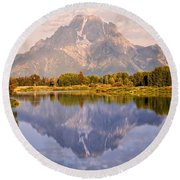 Sunrise At Oxbow Bend 2 Round Beach Towel by Marty Koch