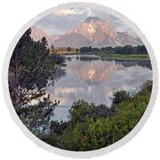 Sunrise At Oxbow Bend 3 Round Beach Towel by Marty Koch