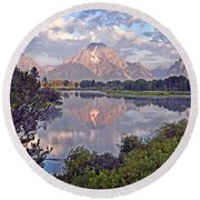 Sunrise At Oxbow Bend 4 Round Beach Towel