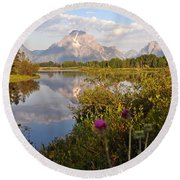 Sunrise At Oxbow Bend 5 Round Beach Towel by Marty Koch
