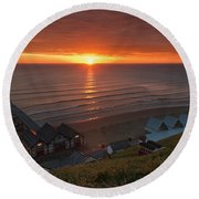 Sunrise At Saltburn Round Beach Towel