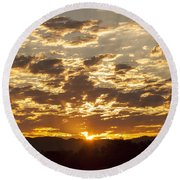 Sunrise At Spirit Lake Sanctuary Lower Lake Ca 20140710 0609 Round Beach Towel