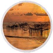 Sunrise At The Fishing Village Round Beach Towel