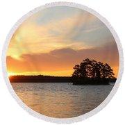 Sunrise At The Lake Round Beach Towel