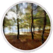 Sunrise At The Magic Forest Round Beach Towel