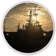 Sunrise At The Naval Base Silhouette Erie Basin Marina V1 Round Beach Towel