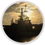 Sunrise At The Naval Base Silhouette Erie Basin Marina V3 Round Beach Towel