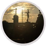 Sunrise At The Naval Base Silhouette Erie Basin Marina V4 Round Beach Towel