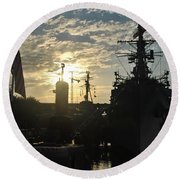 Sunrise At The Naval Base Silhouette Erie Basin Marina V5 Round Beach Towel