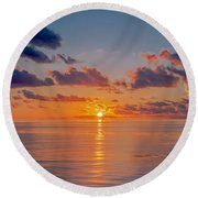 Sunrise At The Seychelles Round Beach Towel