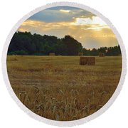 Sunrise At The Wheat Field Round Beach Towel